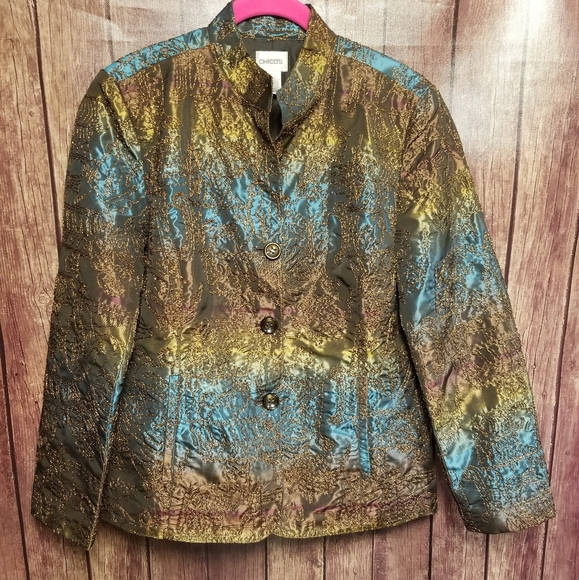 Chicos Embroidered Button Down Jacket